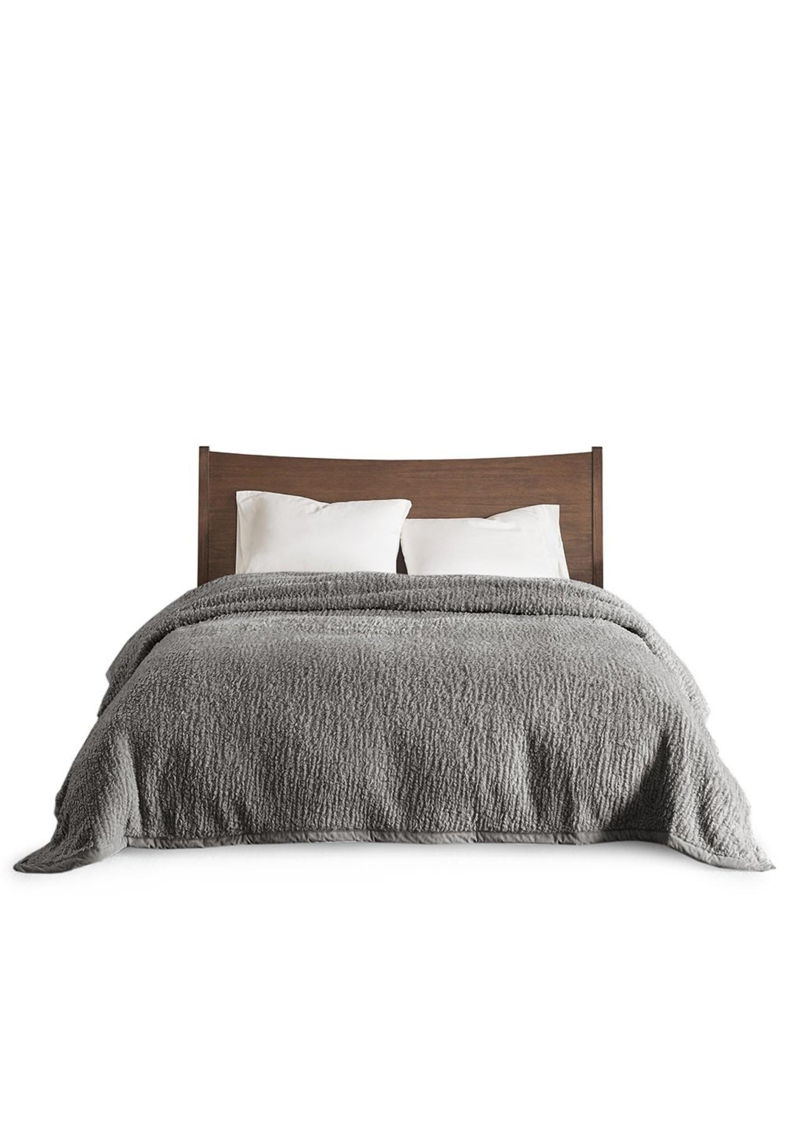 Olliix Grey Sherpa Blanket - Full/Queen