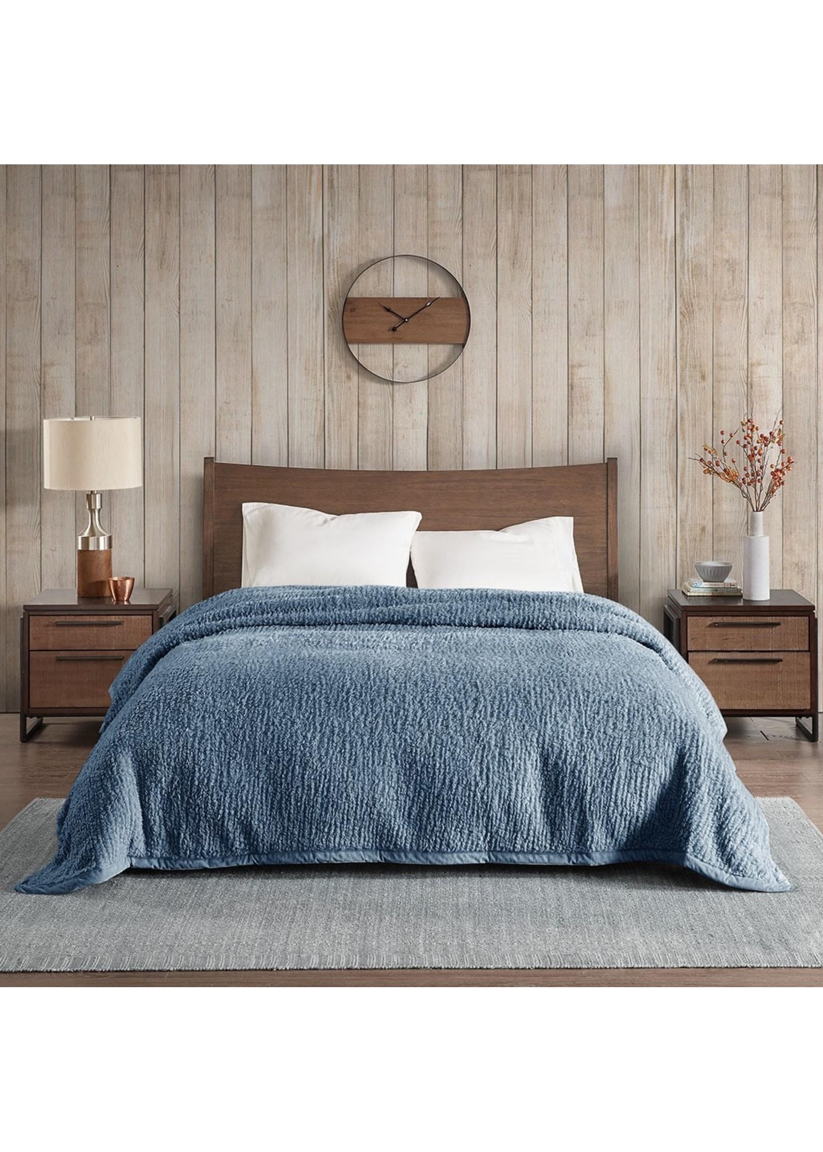 Olliix Blue Sherpa Blanket - Full/Queen