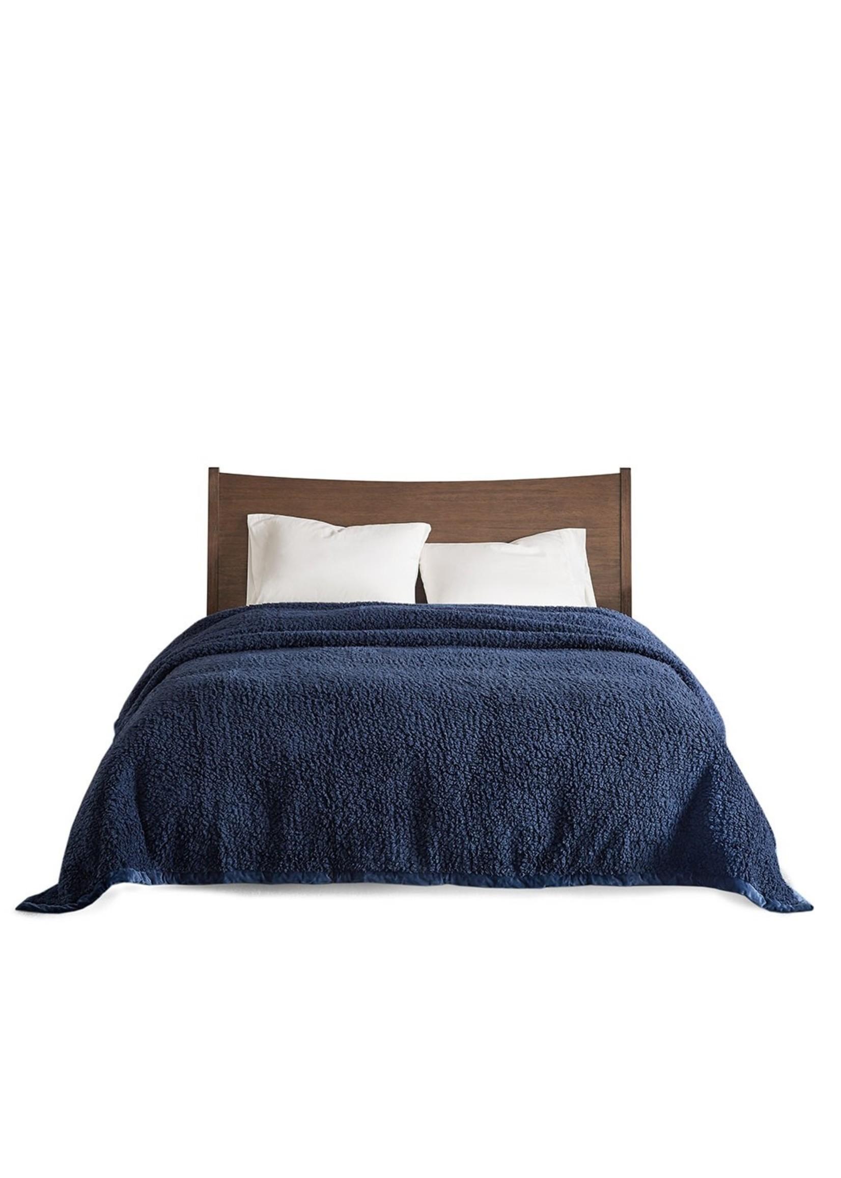 Olliix Navy Sherpa Blanket - Full/Queen