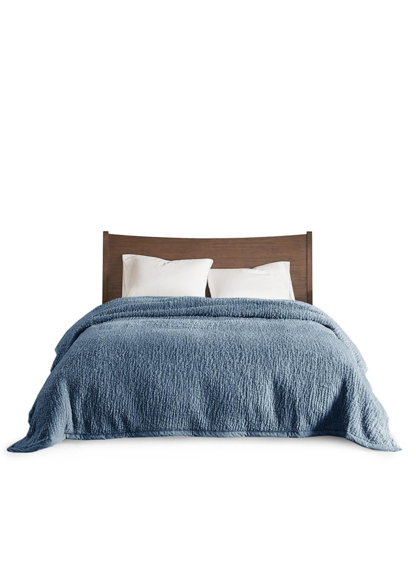 Olliix Blue Sherpa Blanket - King
