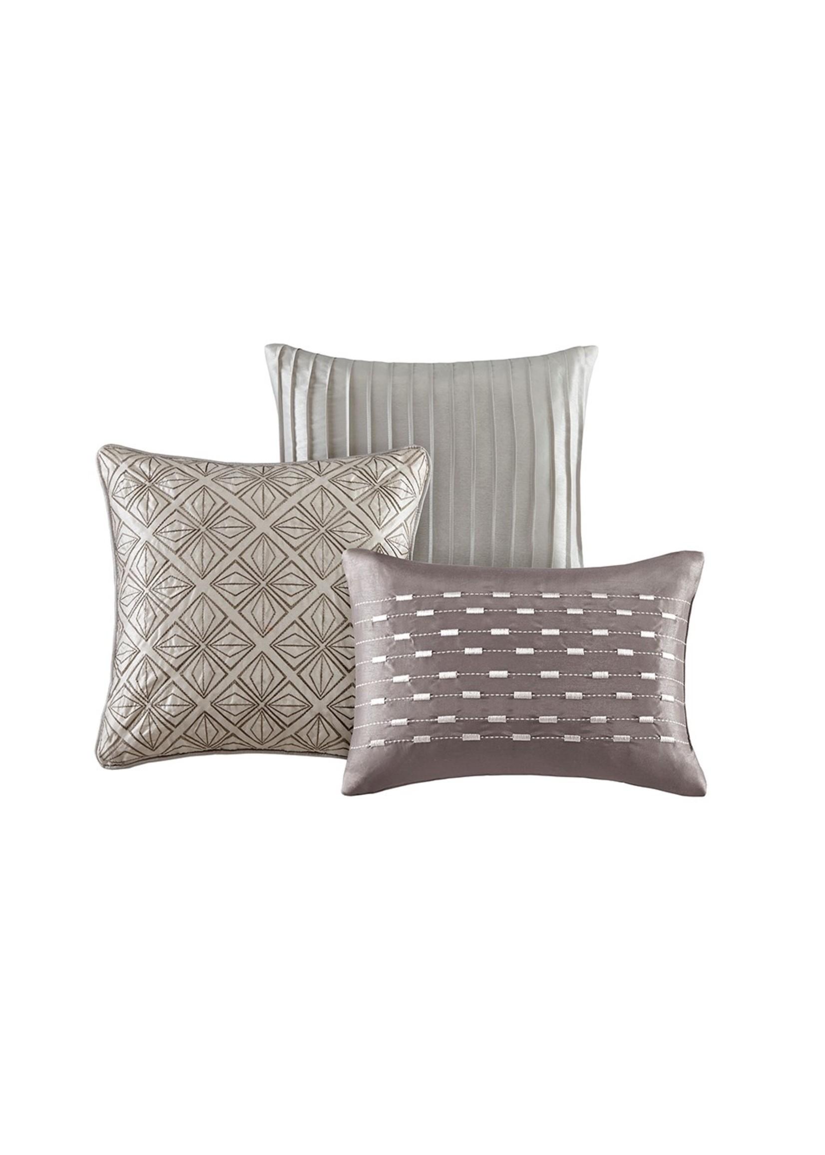 Olliix Biloxi 7pc Comforter Set Silver - King