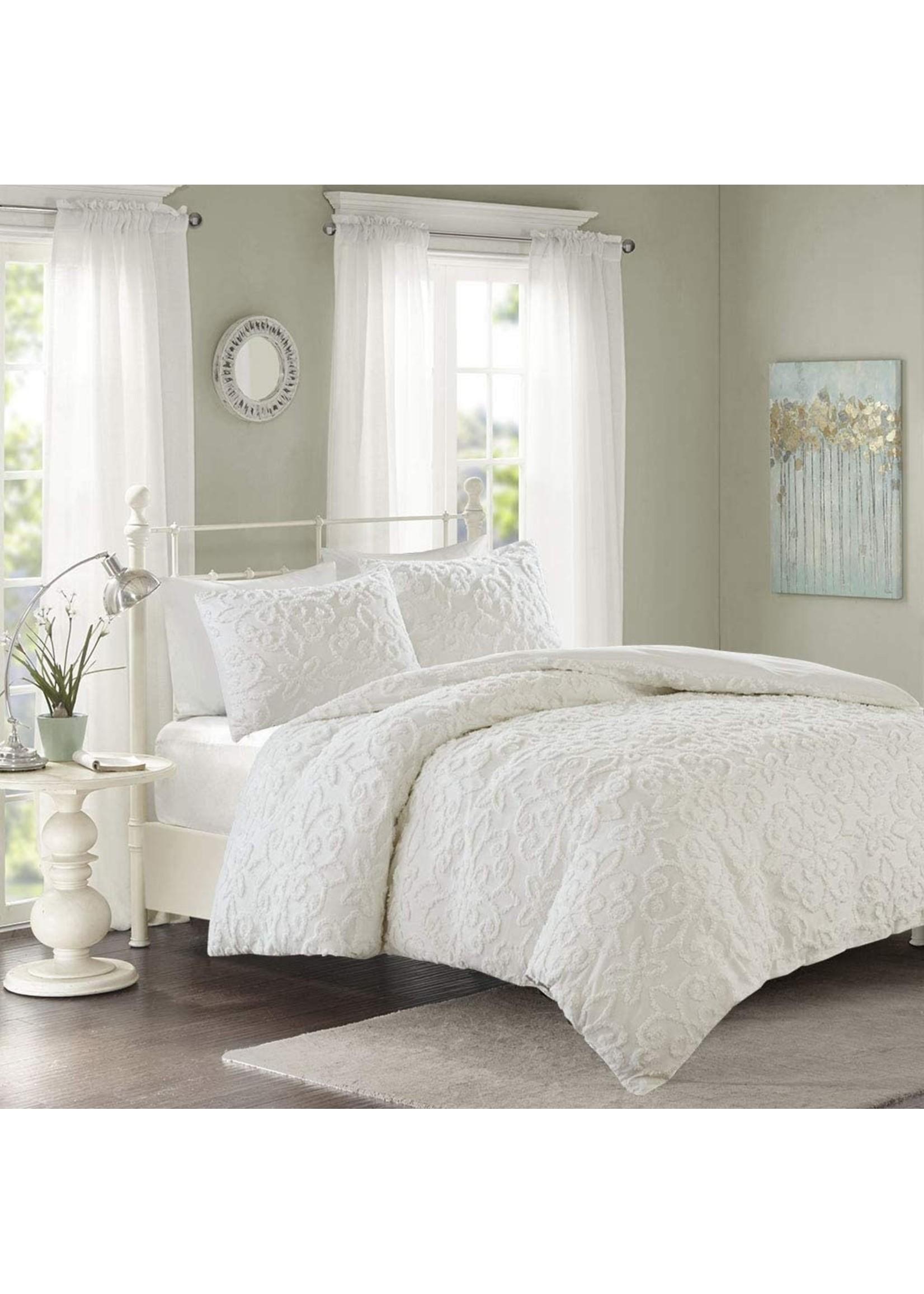Olliix Viola 2pc Tufted Cotton Chenille Damask Duvet Cover Set Queen White