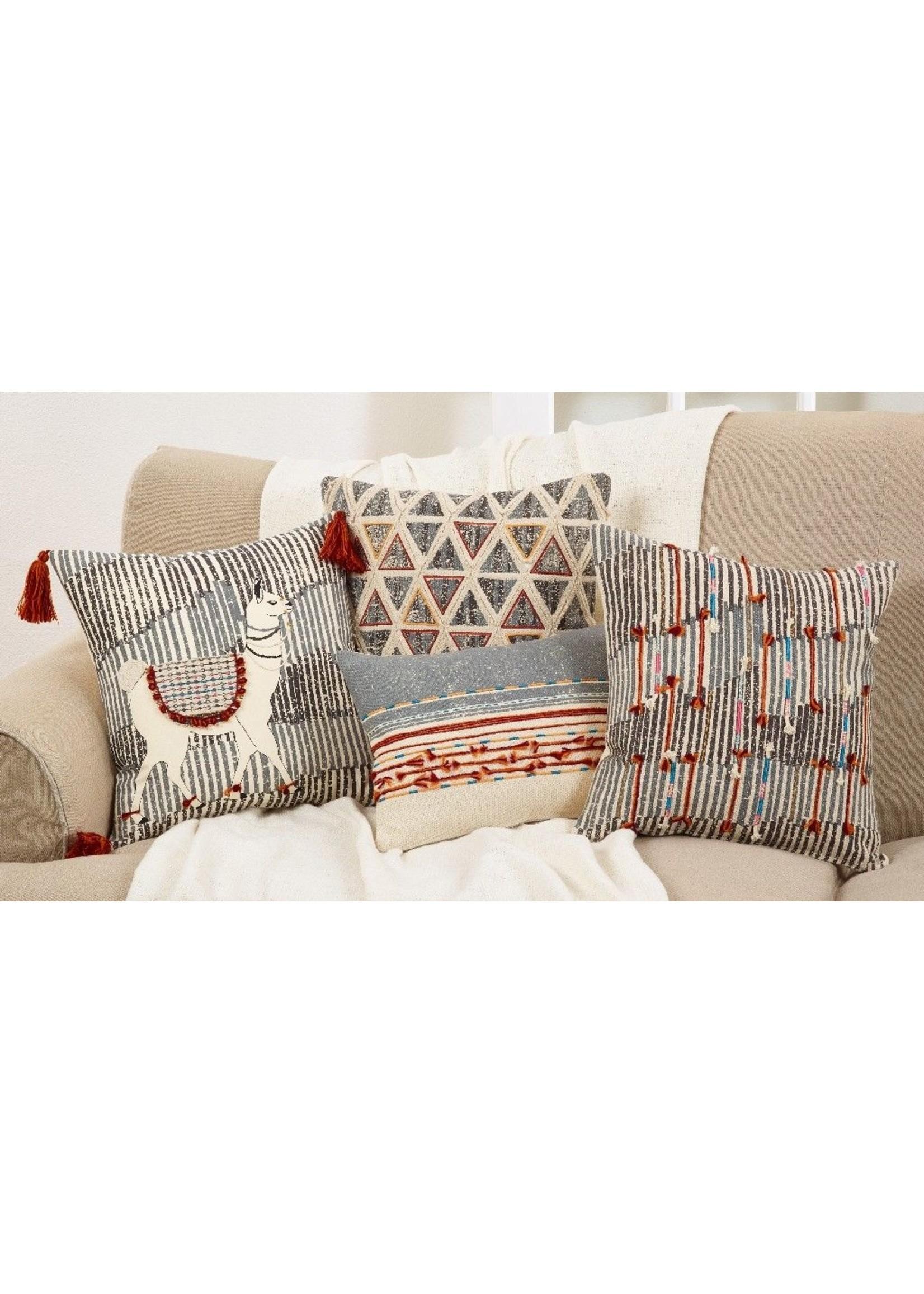 Saro Cord Applique Pillow Down Filled Multi