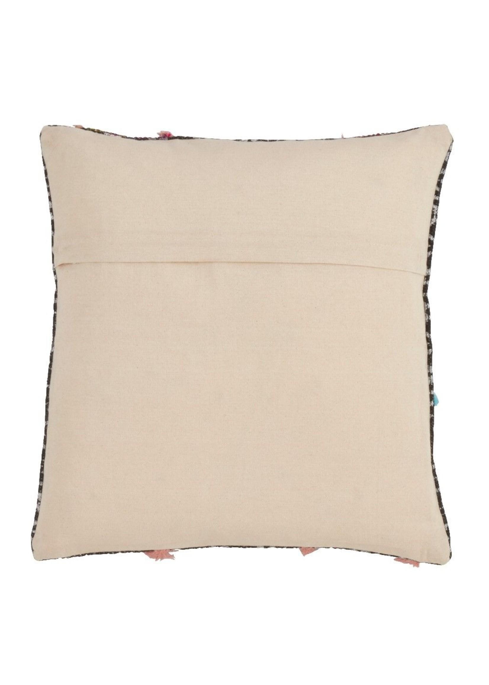 Saro Geo Print Triangle Tassel Pillow - Multi