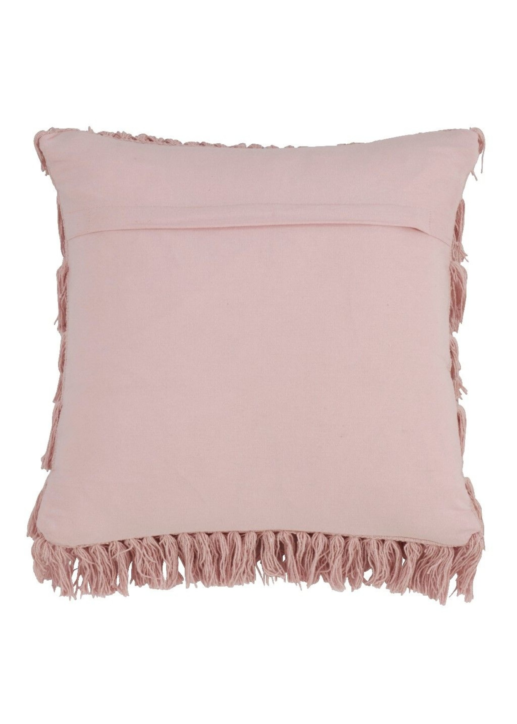 Saro Woven Fringes Pillow Down Filled - Rose