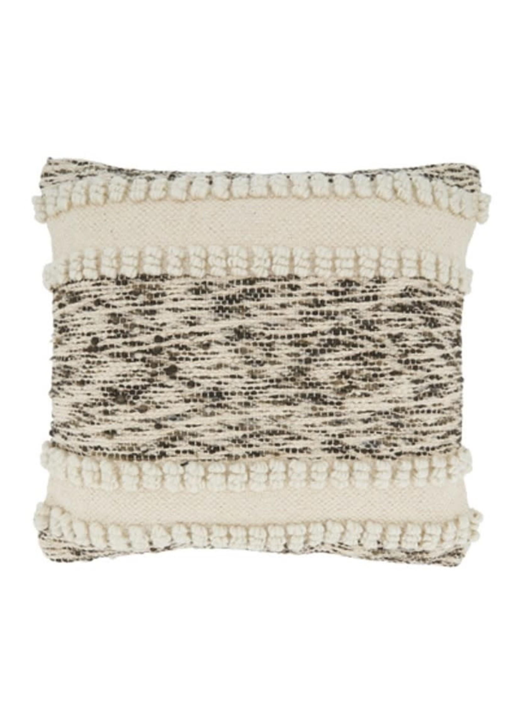 Saro SARO Woven Textured Pillow Down Filled - Ivory
