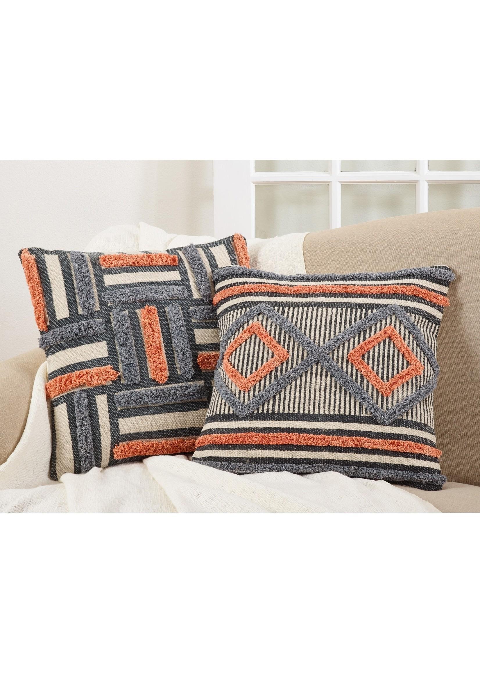 Saro Blue Orange Black Cream Aztec Design Pillow