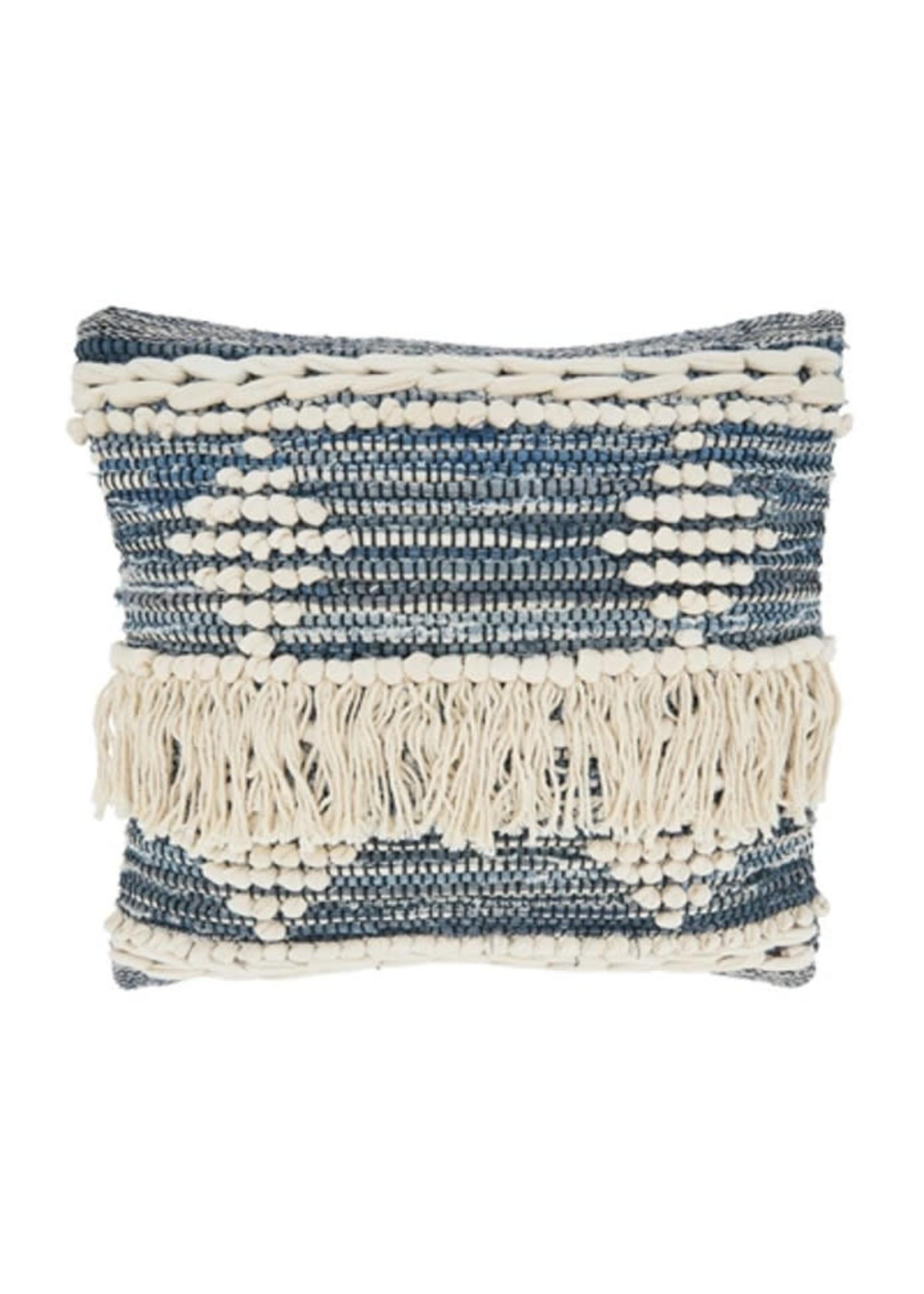 Saro SARO Chindi Fringe Pillow Down Filled - Blue
