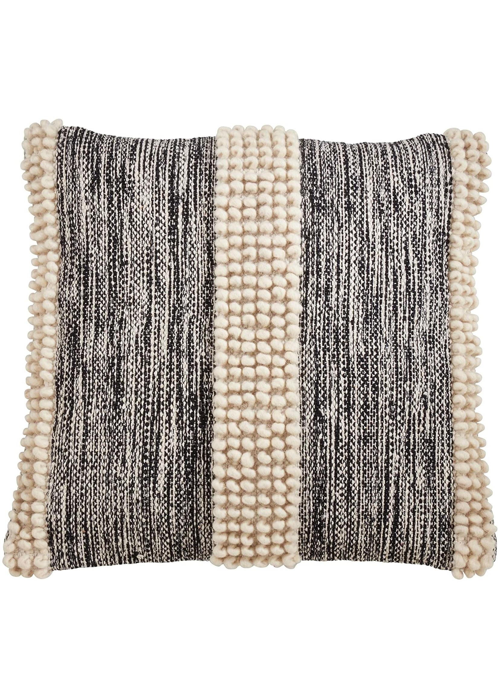 Saro Pom Pom Stripe Pillow - Black