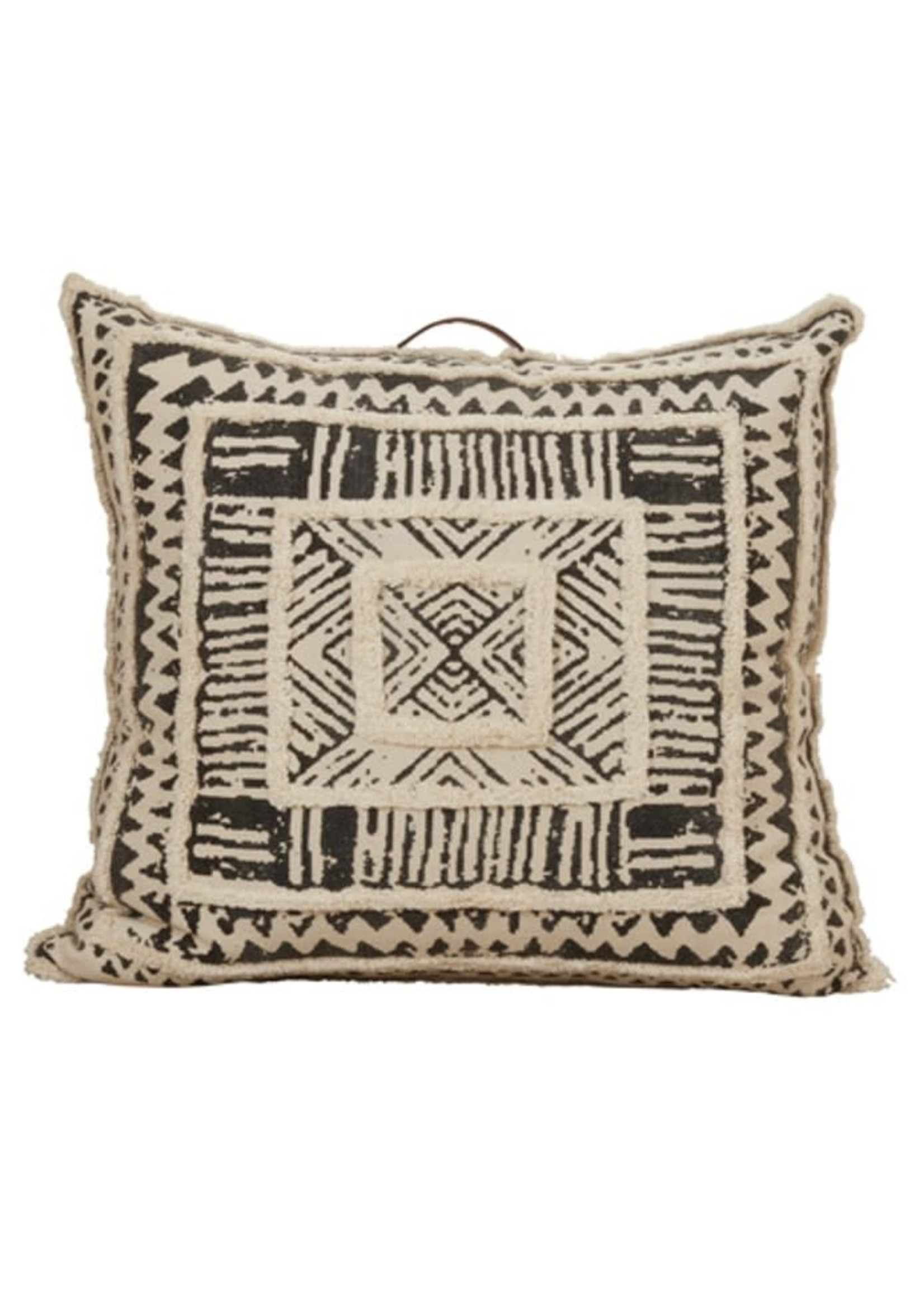 Saro SARO Printed Tufted Floor Pillow Poly Filled - Black