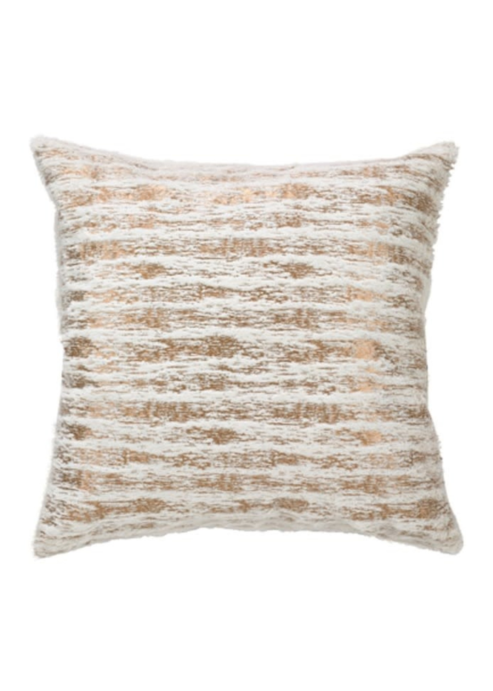 Saro SARO Foil Print Faux Fur Pillow Down Filled - Gold