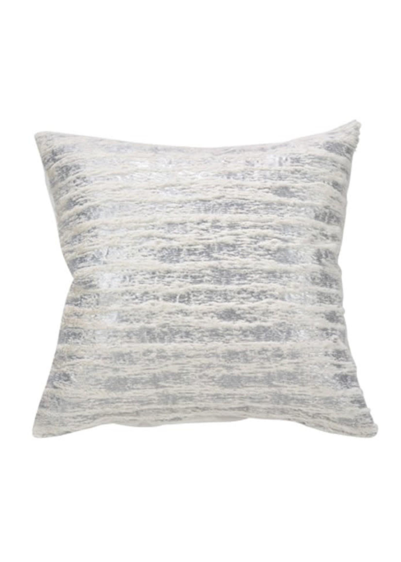 Saro SARO Foil Print Faux Fur Pillow Down Filled - Silver