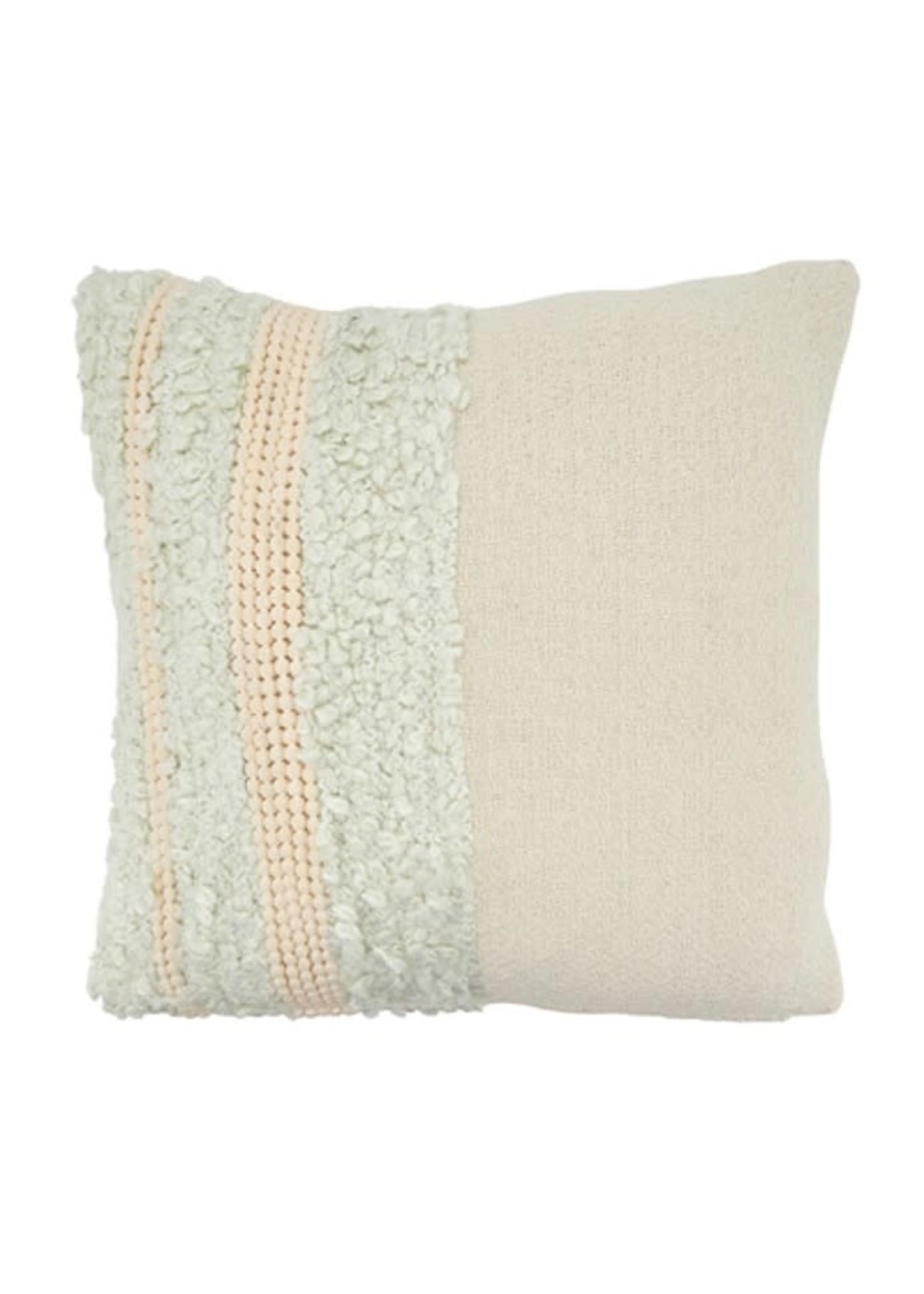 Saro SARO Pom Pom Applique Pillow Down Filled - Ivory