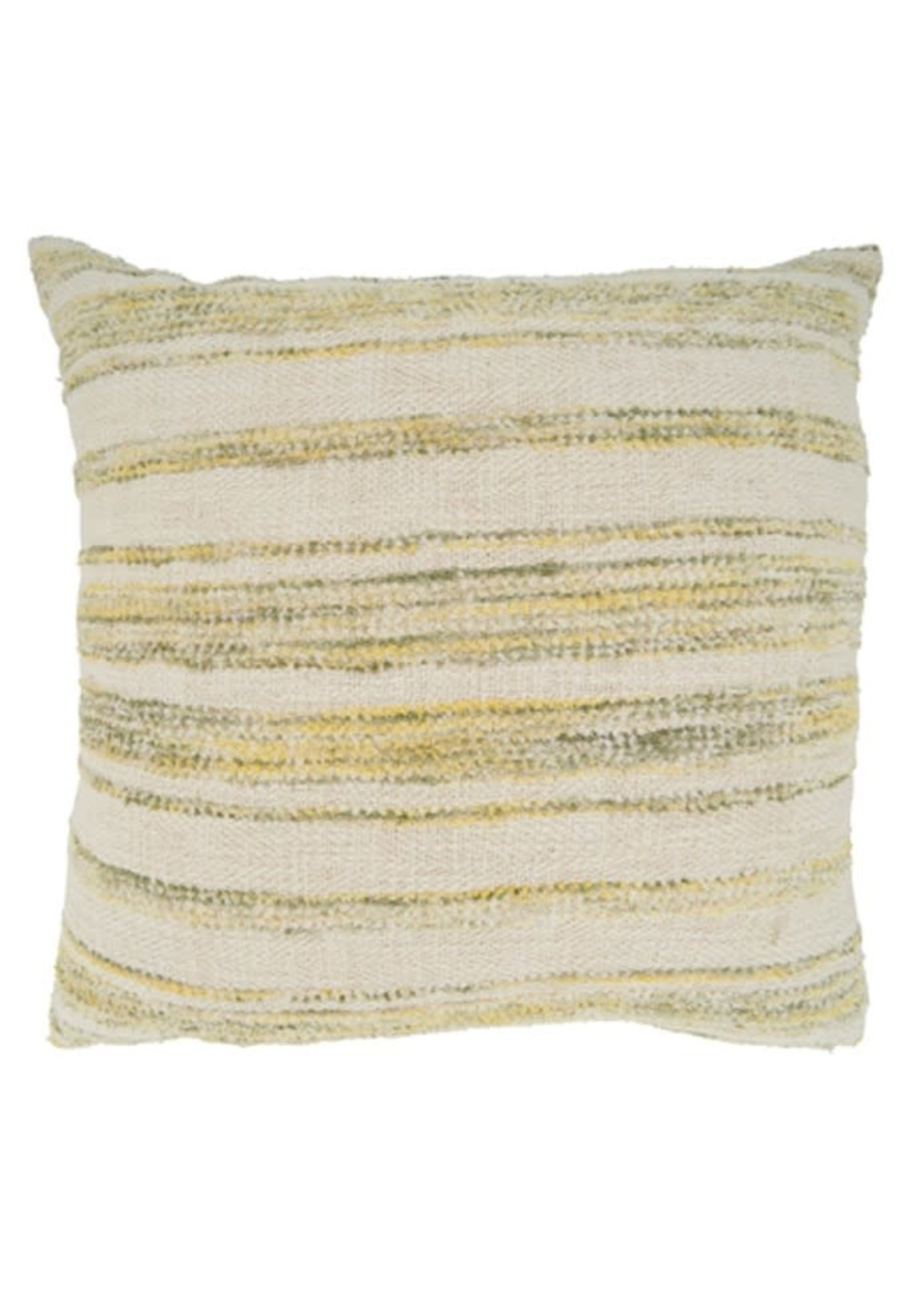 Saro SARO Striped Woven Pillow Down Filled  - Yellow