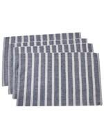 Saro SARO Striped Placemat - Navy Blue