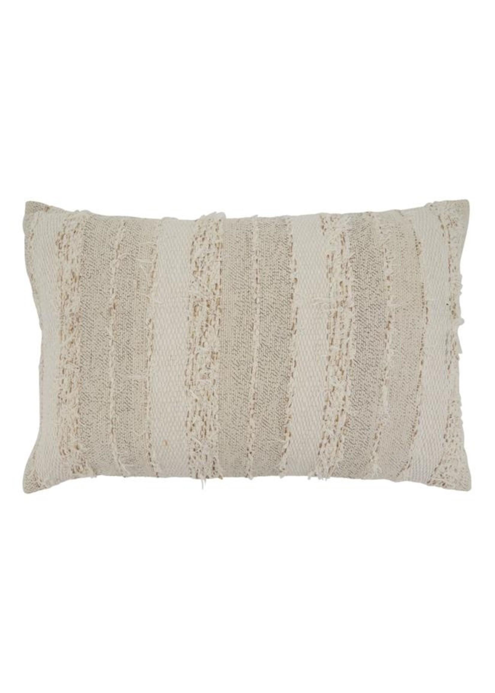 Saro Fringe Stripe Pillow - Ivory