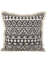Saro Fringed Aztec Pillow - Grey