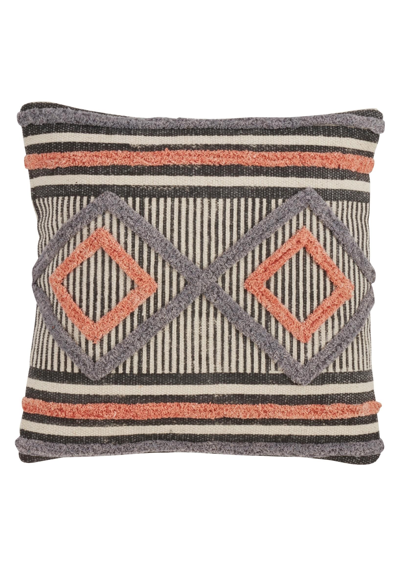 Saro Blue Orange Black Cream Aztec Pillow