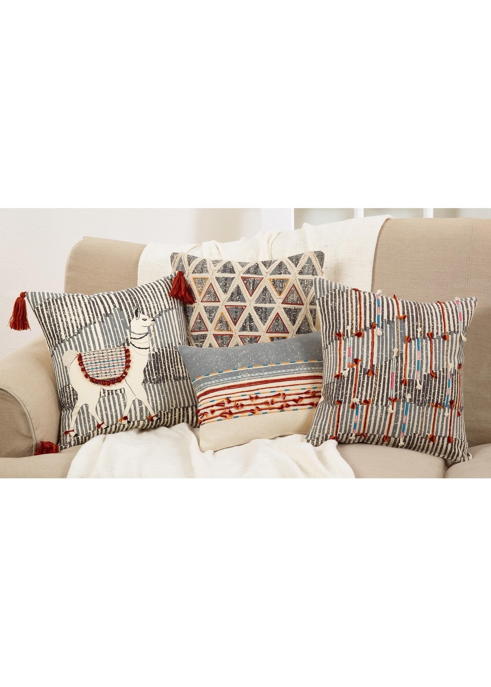 Saro Cord Applique Pillow - Multi