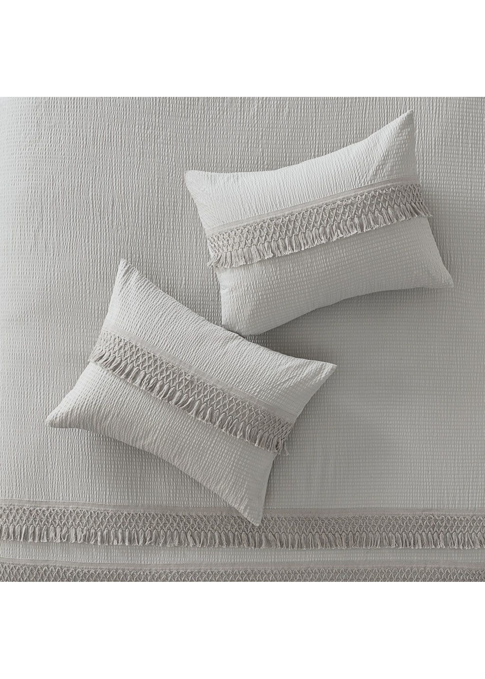 Olliix Grey Amaya 3 Piece Cotton Seersucker Duvet Cover Set - King