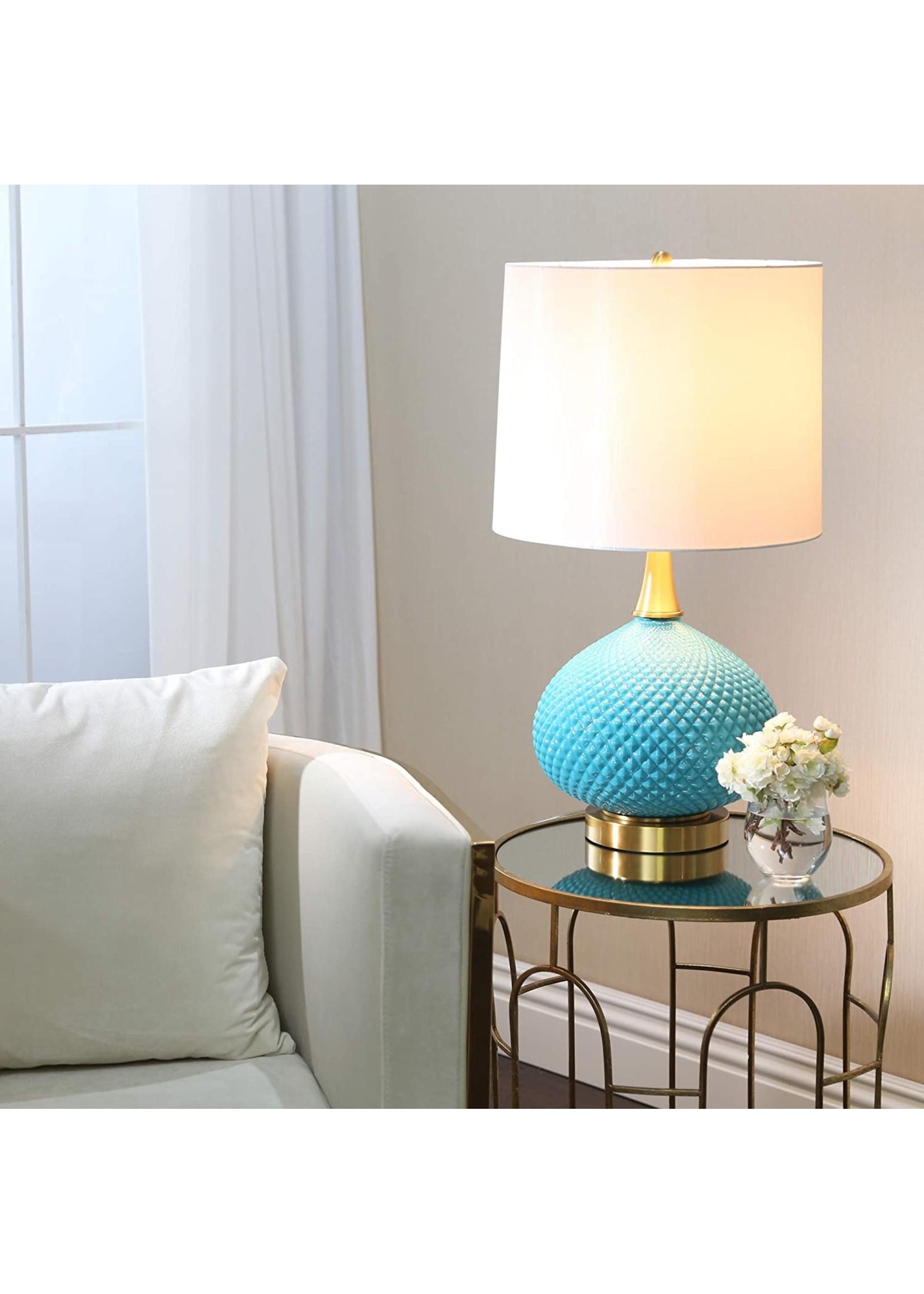 Sagebrook Home Cut Glass Round Table Lamp w/USB Blue