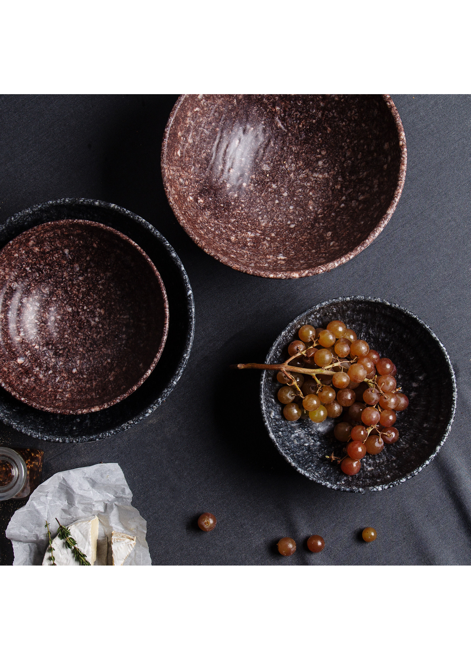 Home Essentials 68 oz  Black Marble Finish Melamine Bowl