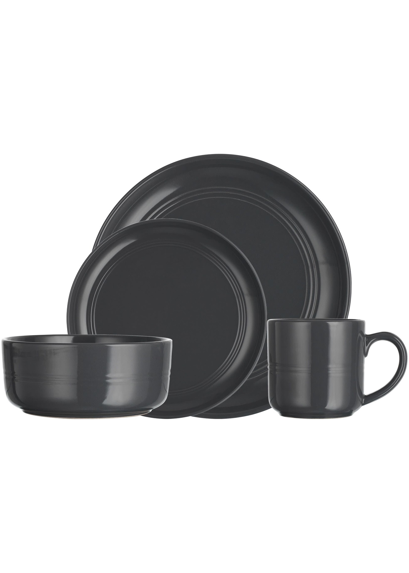 Home Essentials 16 Piece Tribeca Dark Grey Dinnerware