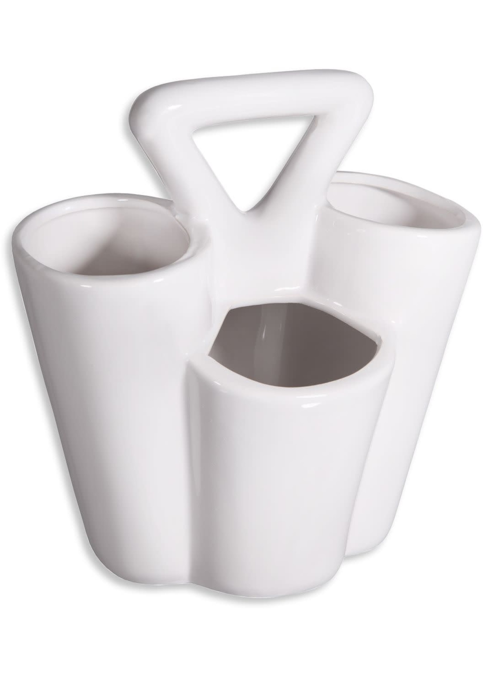 Home Essentials Ceramic 4-Section White Caddy with Handle