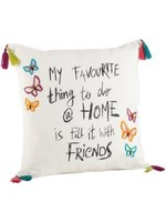 """Exclusive Flowers """"My Favorite Thing"""" Tassel Emb Pillow White"""