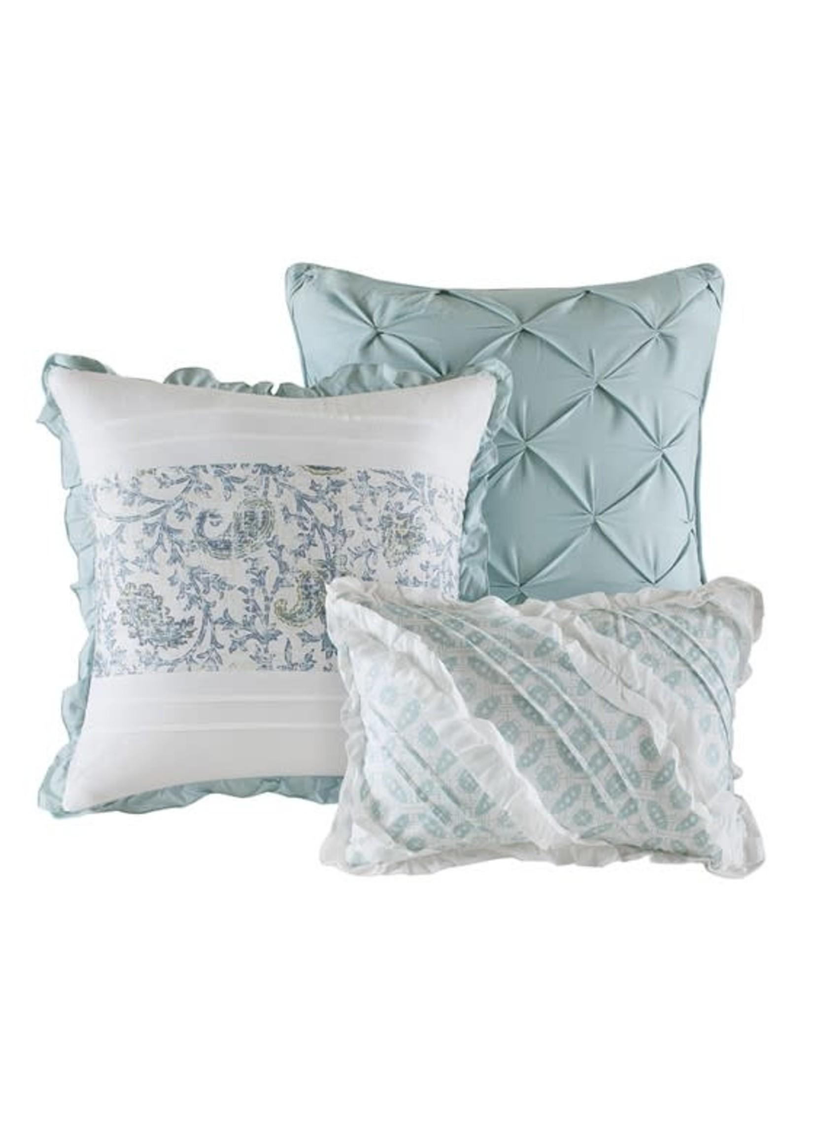 Olliix OLLIIX Dawn 6pc Cotton Percale Rev Coverlet Set Blue KING