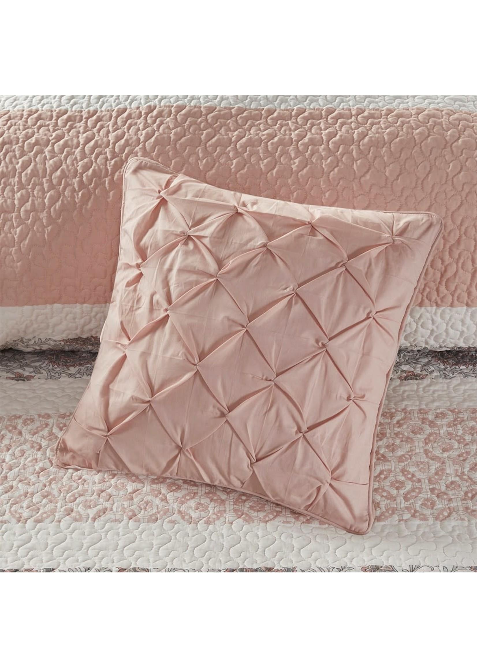 Olliix OLLIIX Dawn 6pc Cotton Percale Rev Coverlet Set Blush KING