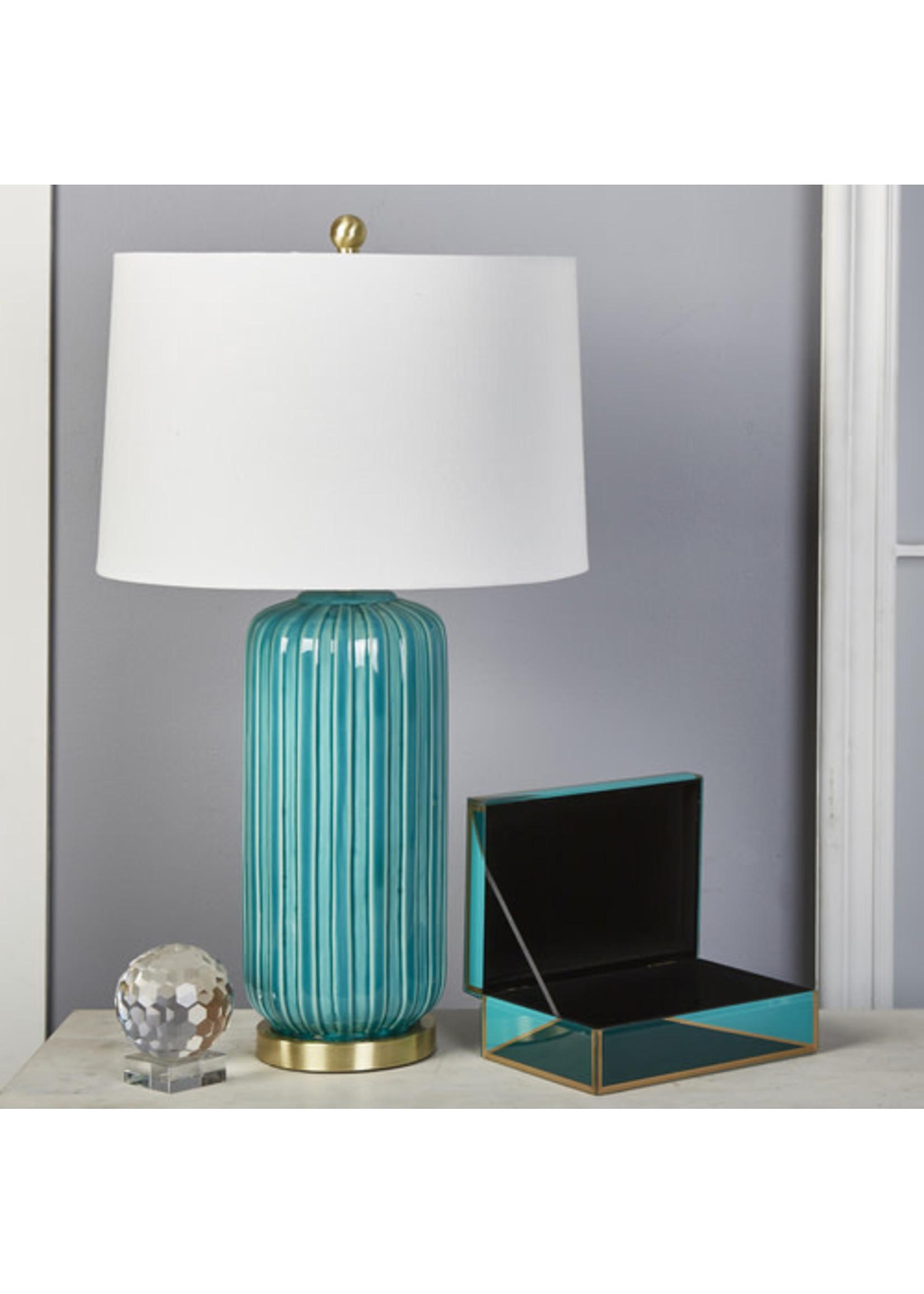 "Sagebrook Home 50204-03 SBH 29"" Ceramic Fluted Column Table Lamp Teal"