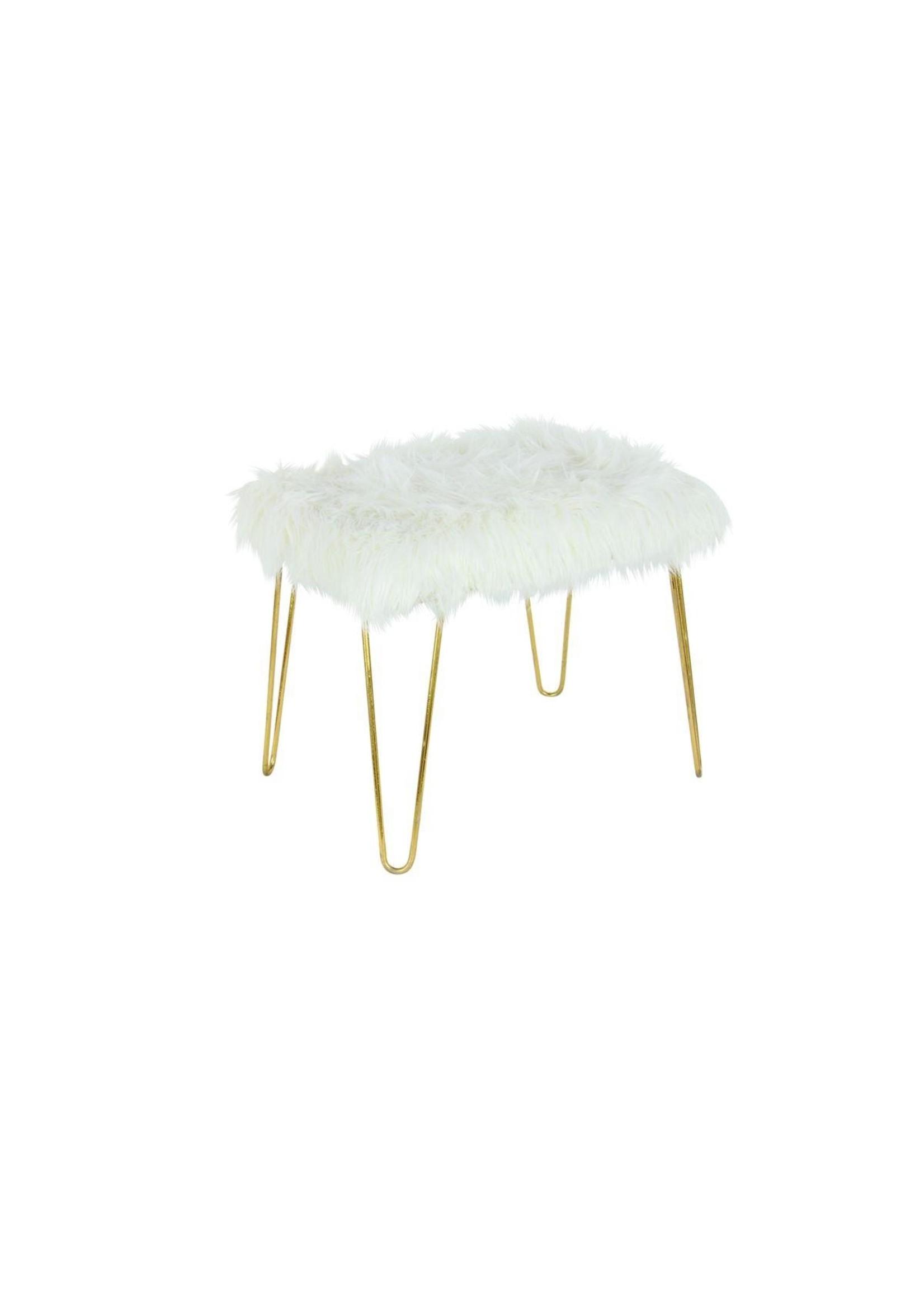 UMA Enterprises UMA White Faux Fur Gold Leg Stool