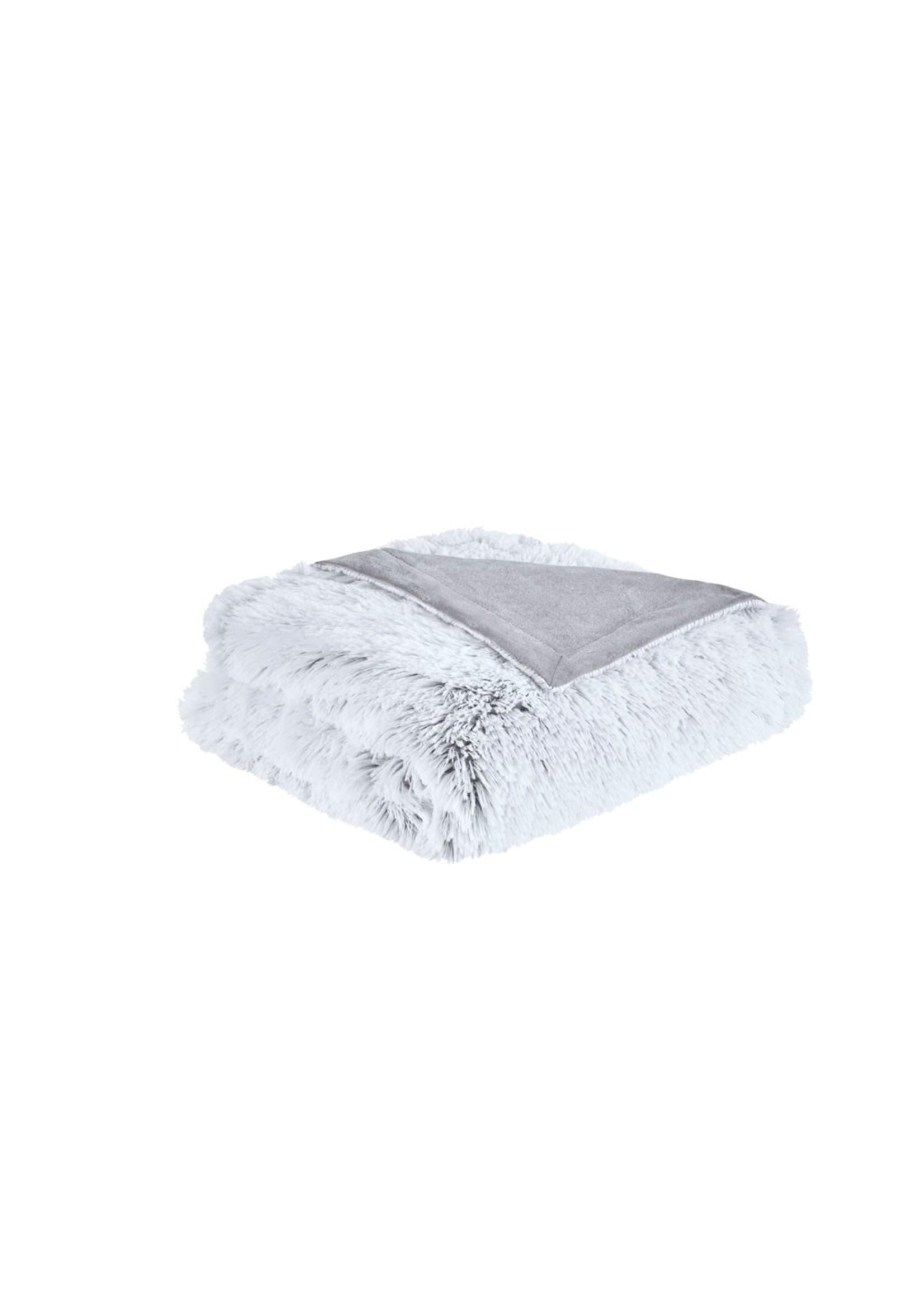Olliix Shaggy Faux Fur Throw Grey
