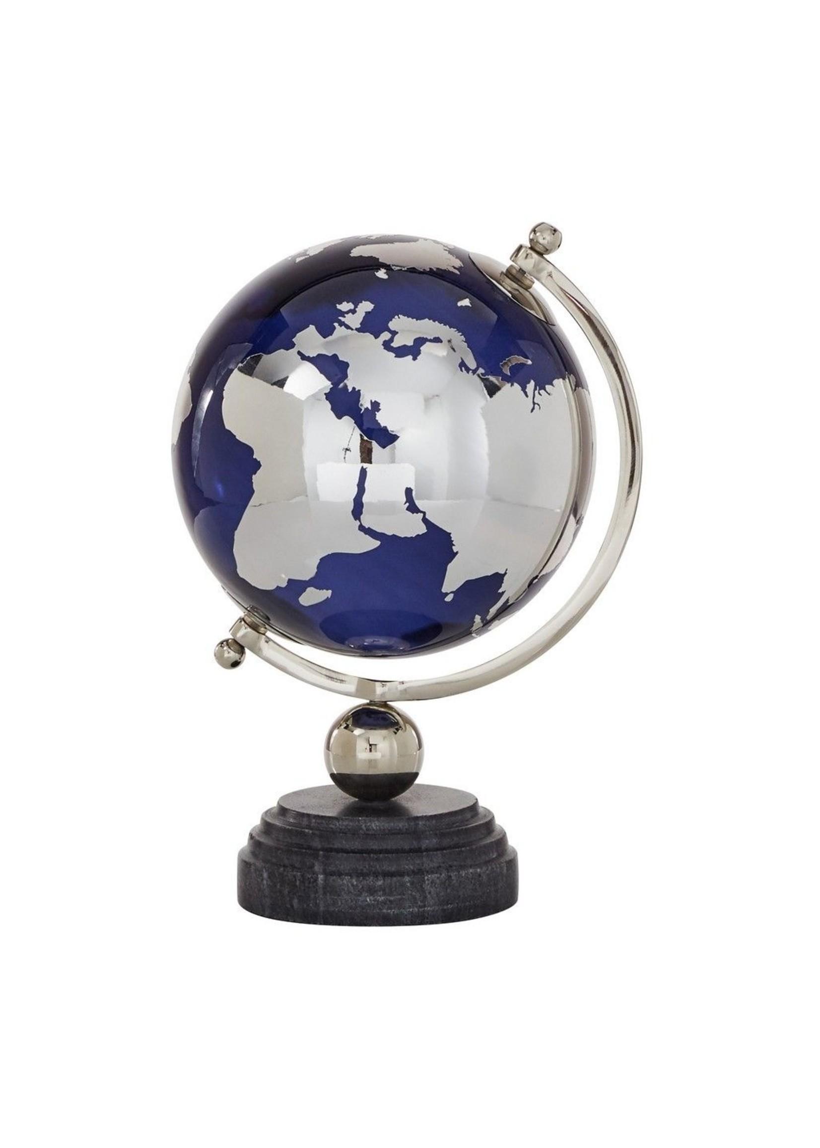 UMA Enterprises Marble Alum Navy Glass Globe