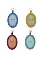 UMA Enterprises Metal Wall Clock Oval - Assorted Colours  8 x 14