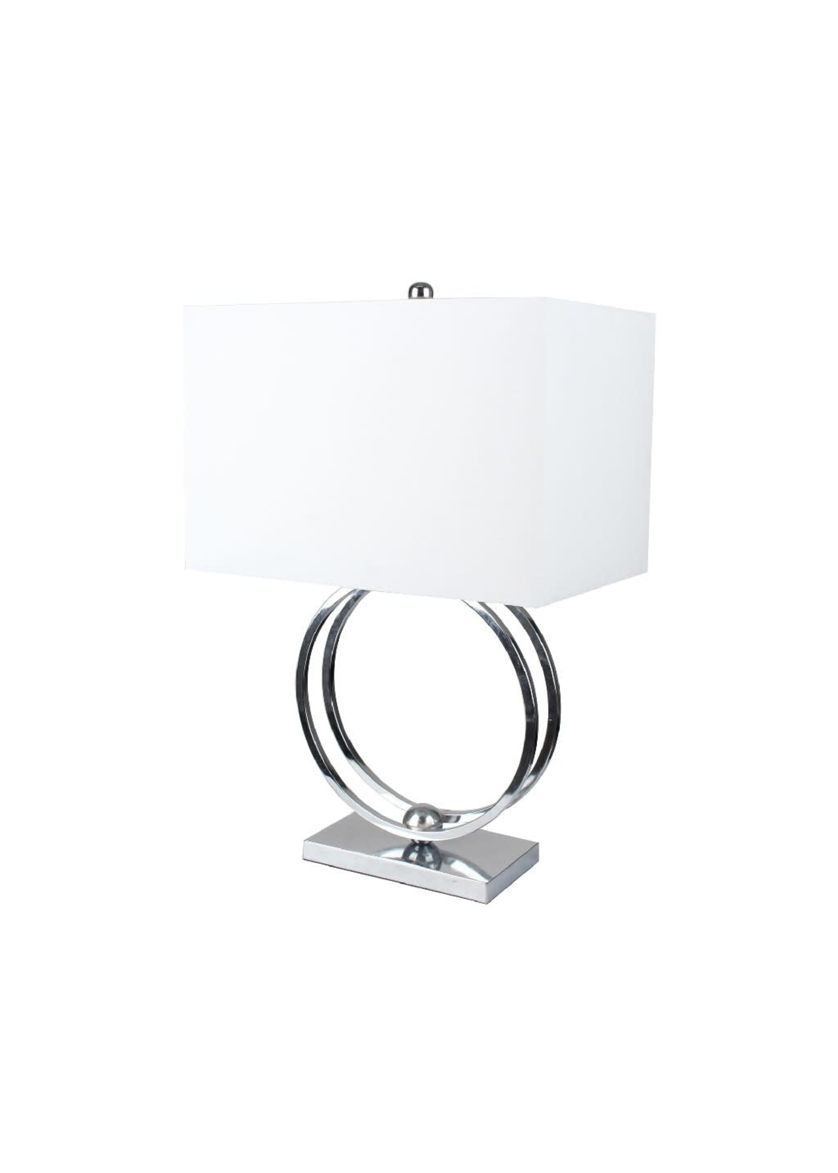 """Sagebrook Home 50472-01 SBH 28"""" Metal Double Ring Table Lamp Silver"""
