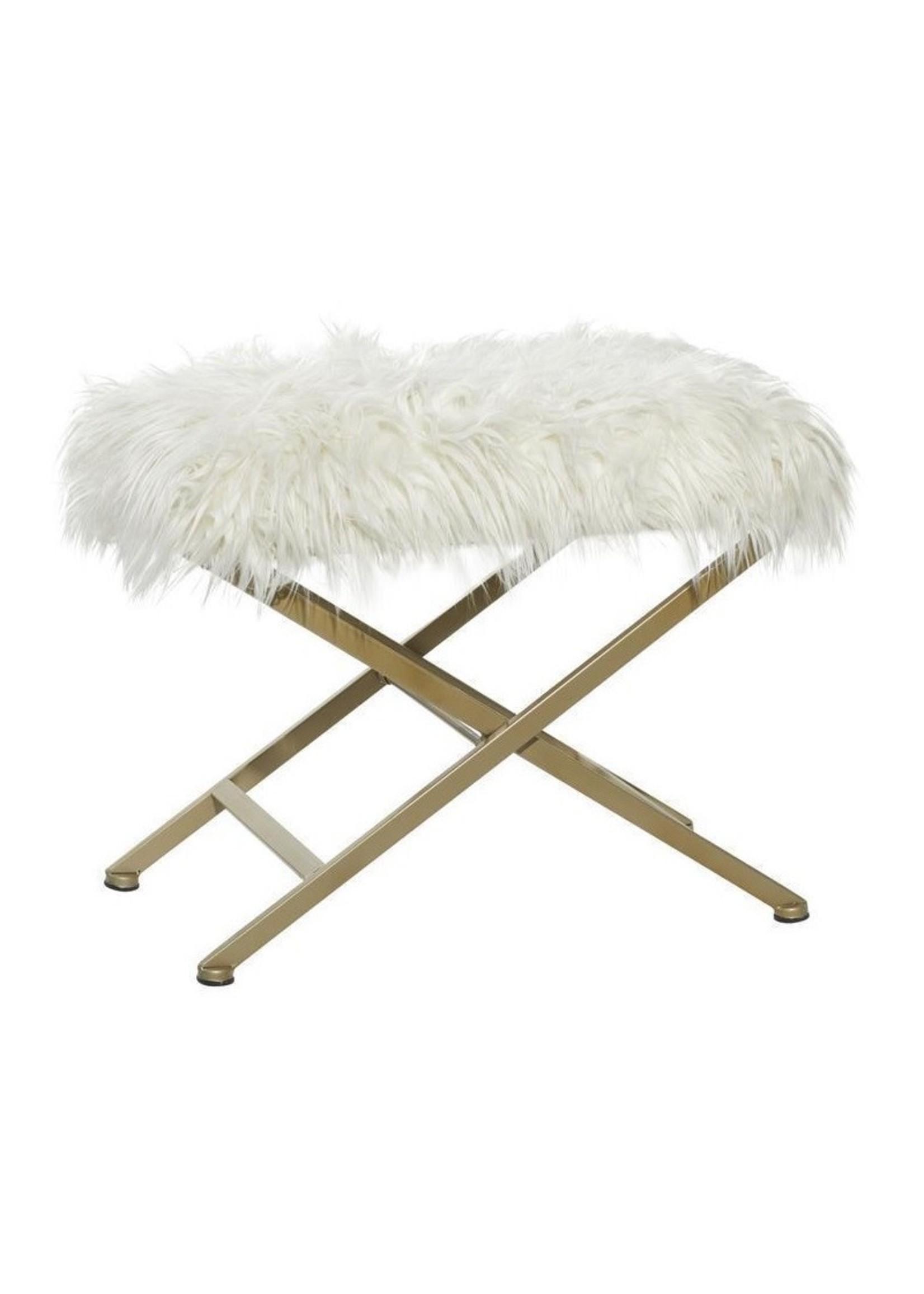 UMA Enterprises 85473 Fur Stool White