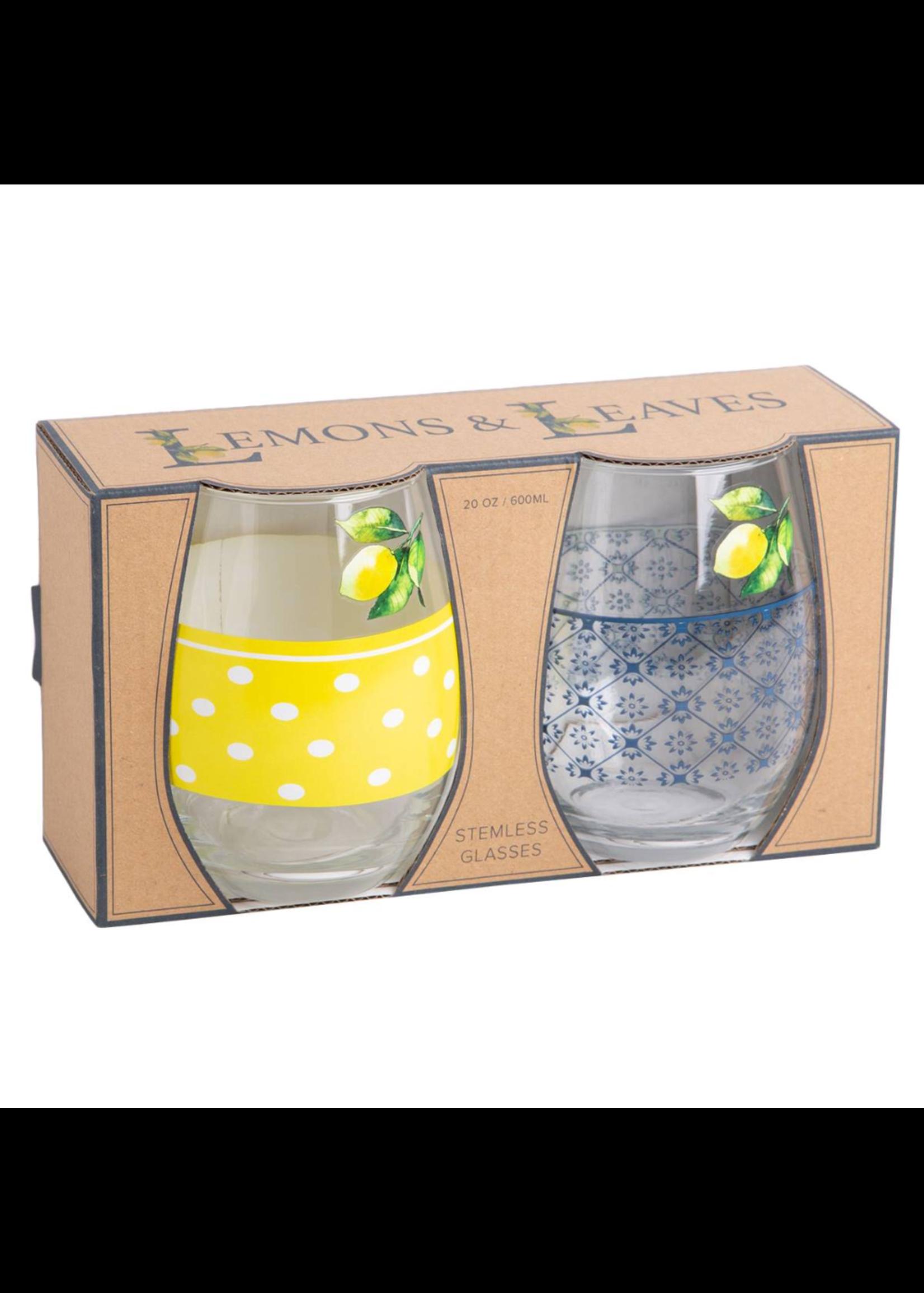 Olliix Stemless Glasses Lemon Leaves Set of 2 20oz