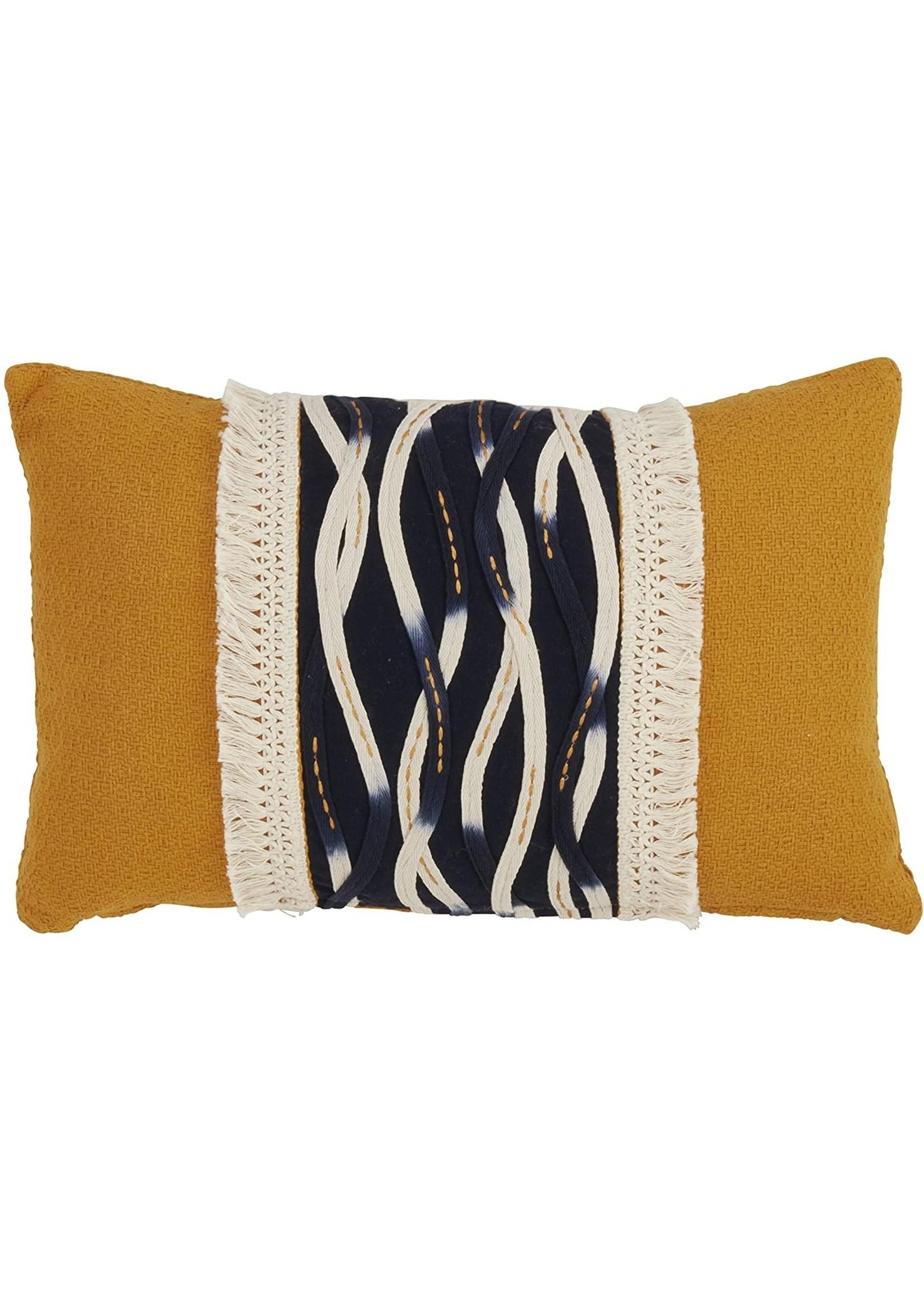 Saro Wavy Stitched Pillow Mustard