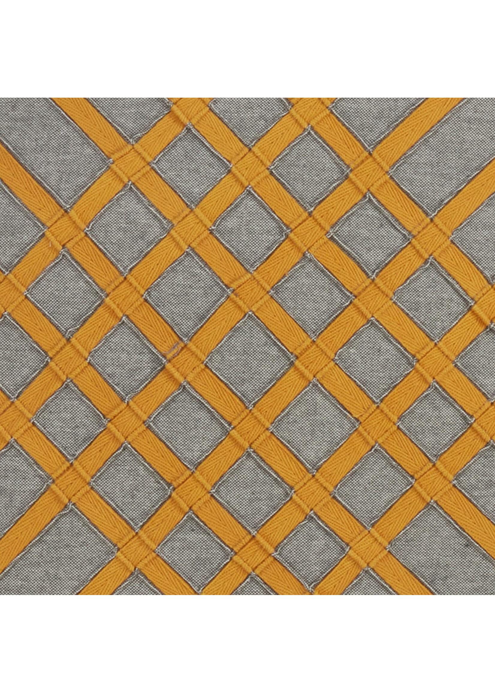 Saro Cross Hatch Pillow Grey - Yellow