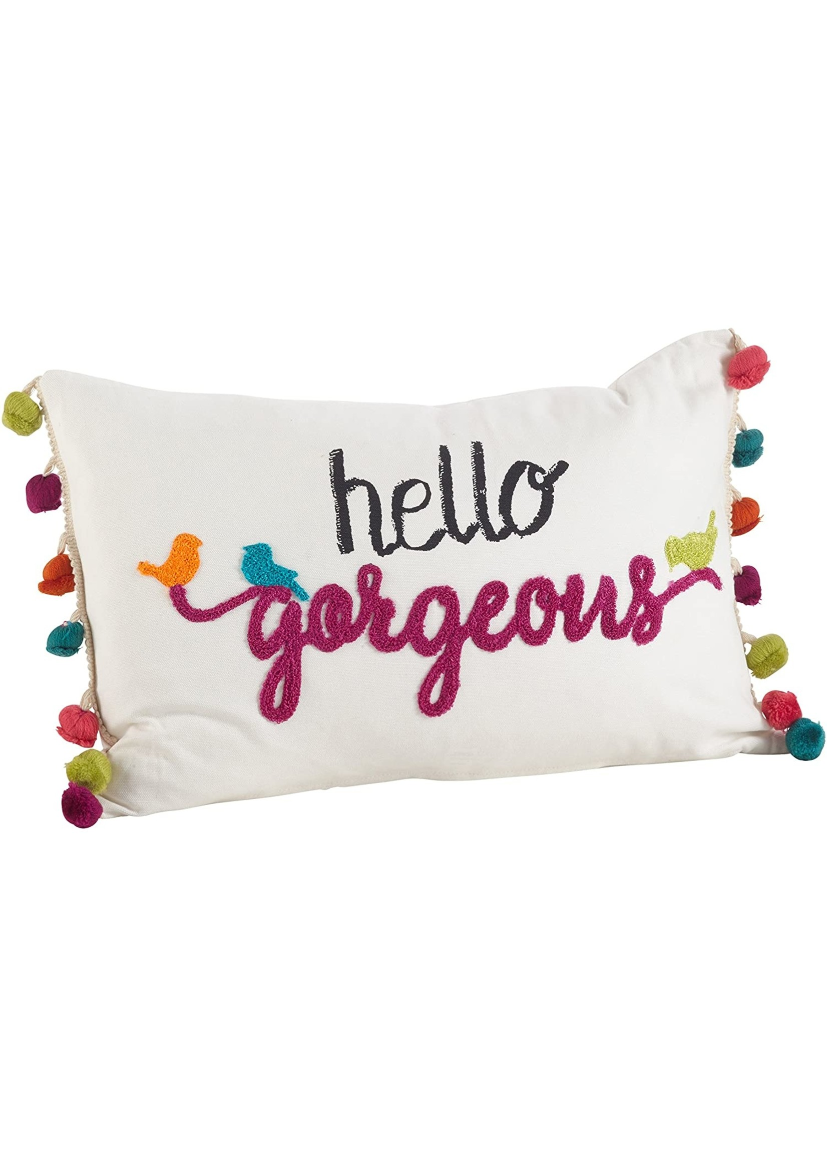 """Saro """"Hello Gorgeous"""" Tassel Emb Pillow White"""