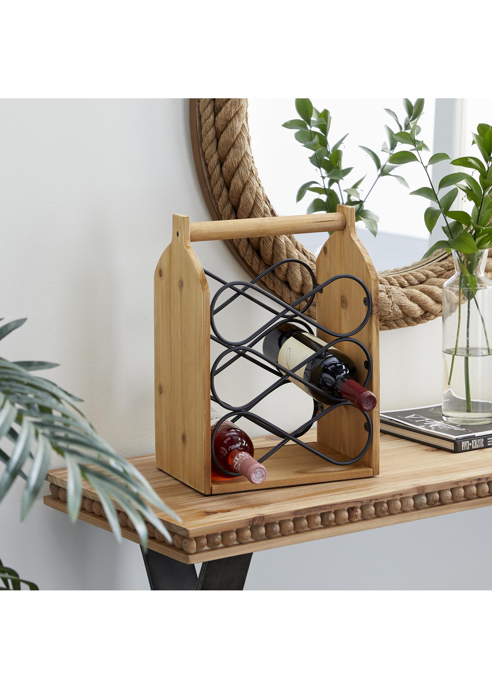 UMA Enterprises Wood Metal Wine Holder