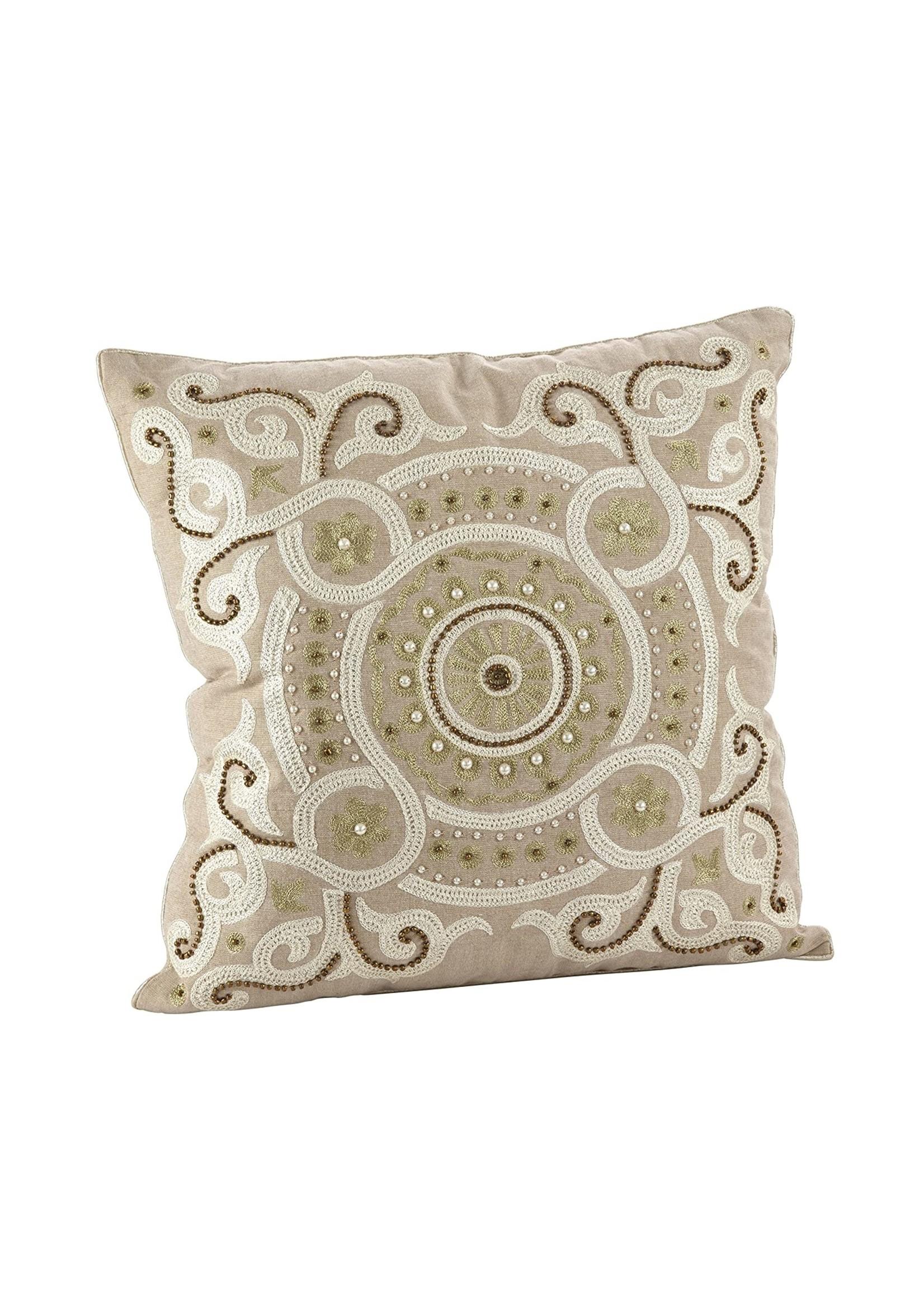 Saro Embrodiered Beaded Design Pillow Natural
