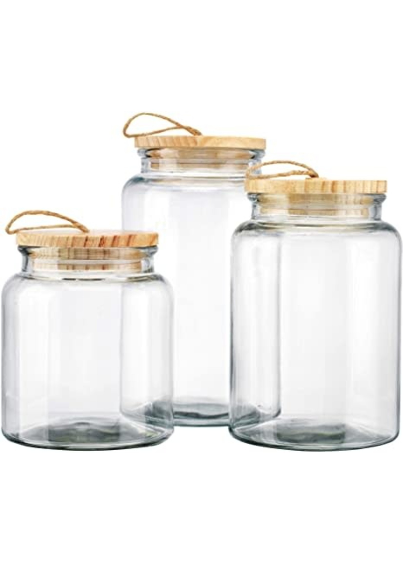 Glass Cannisters wood tops Set 3
