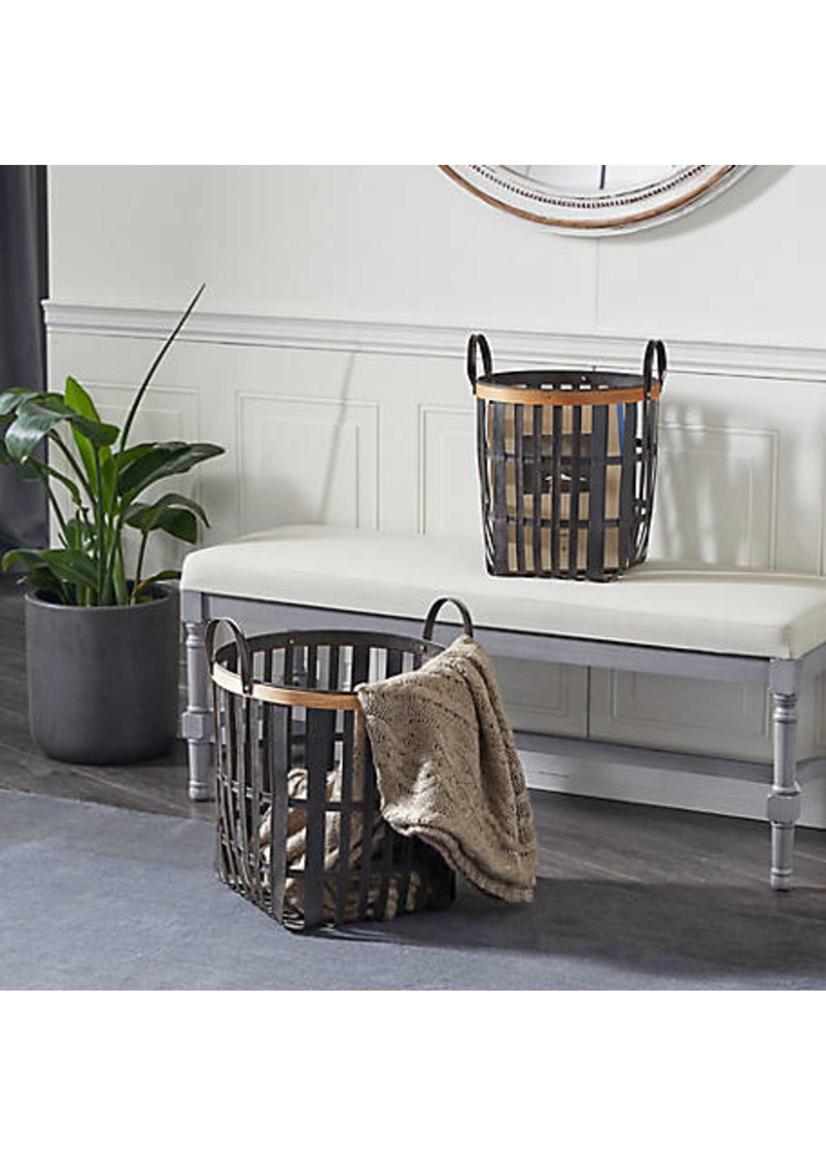 UMA Enterprises Wood Metal basket Set of 2