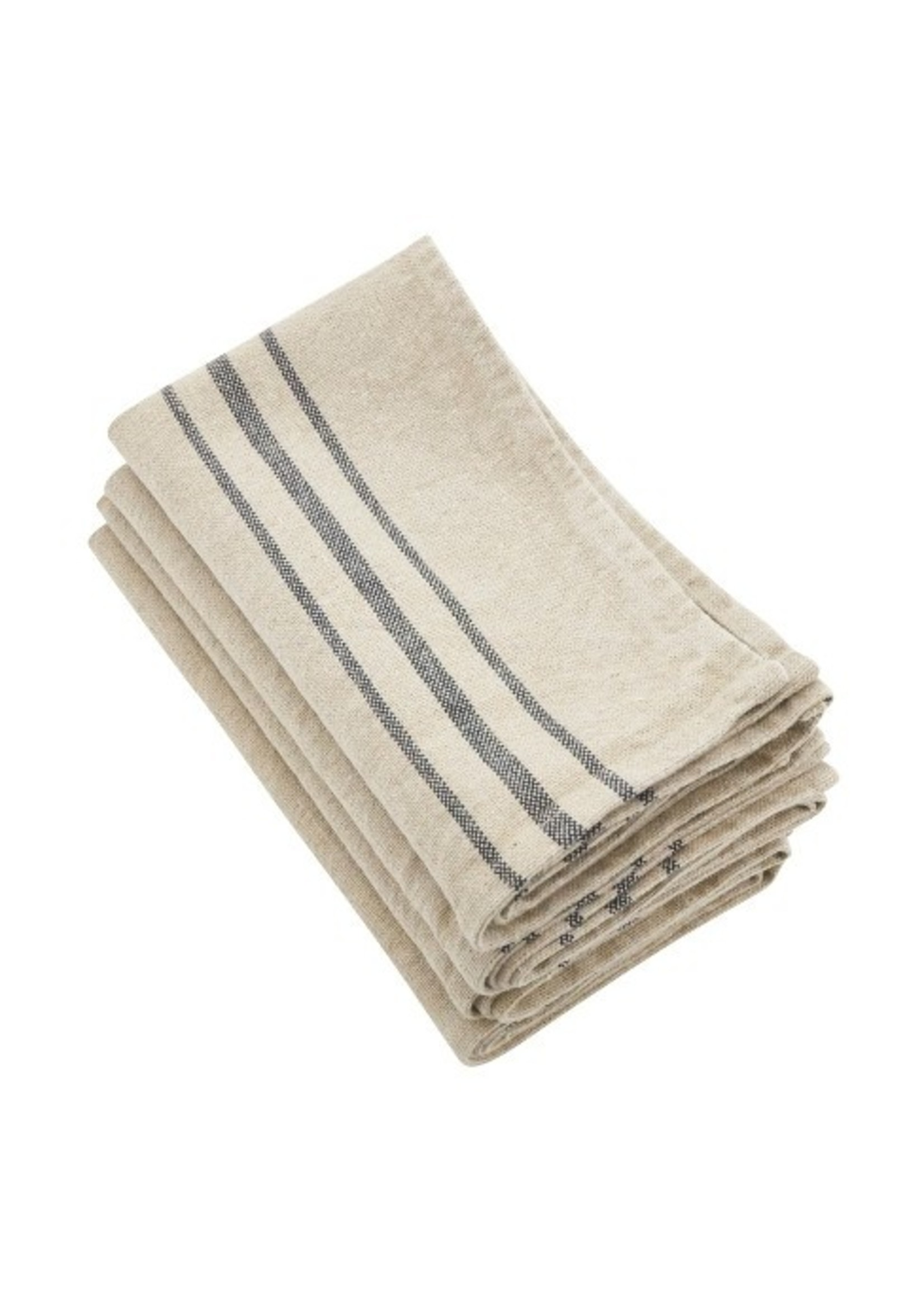 Saro Striped Linen Napkin Natural
