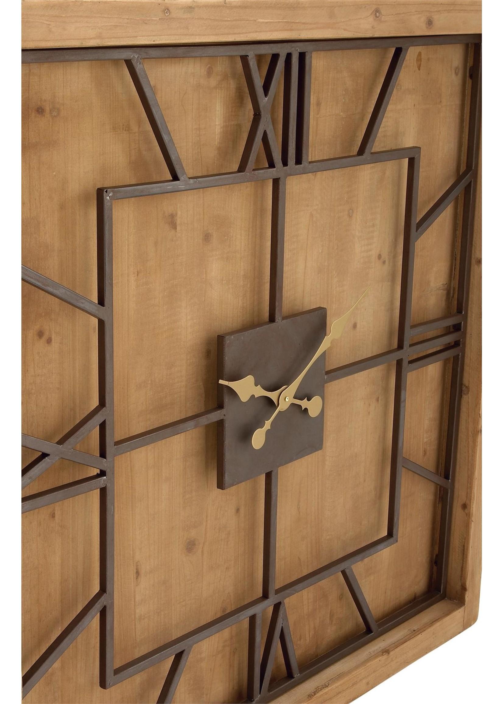UMA Enterprises UMA Wood Metal Sq Wall Clock