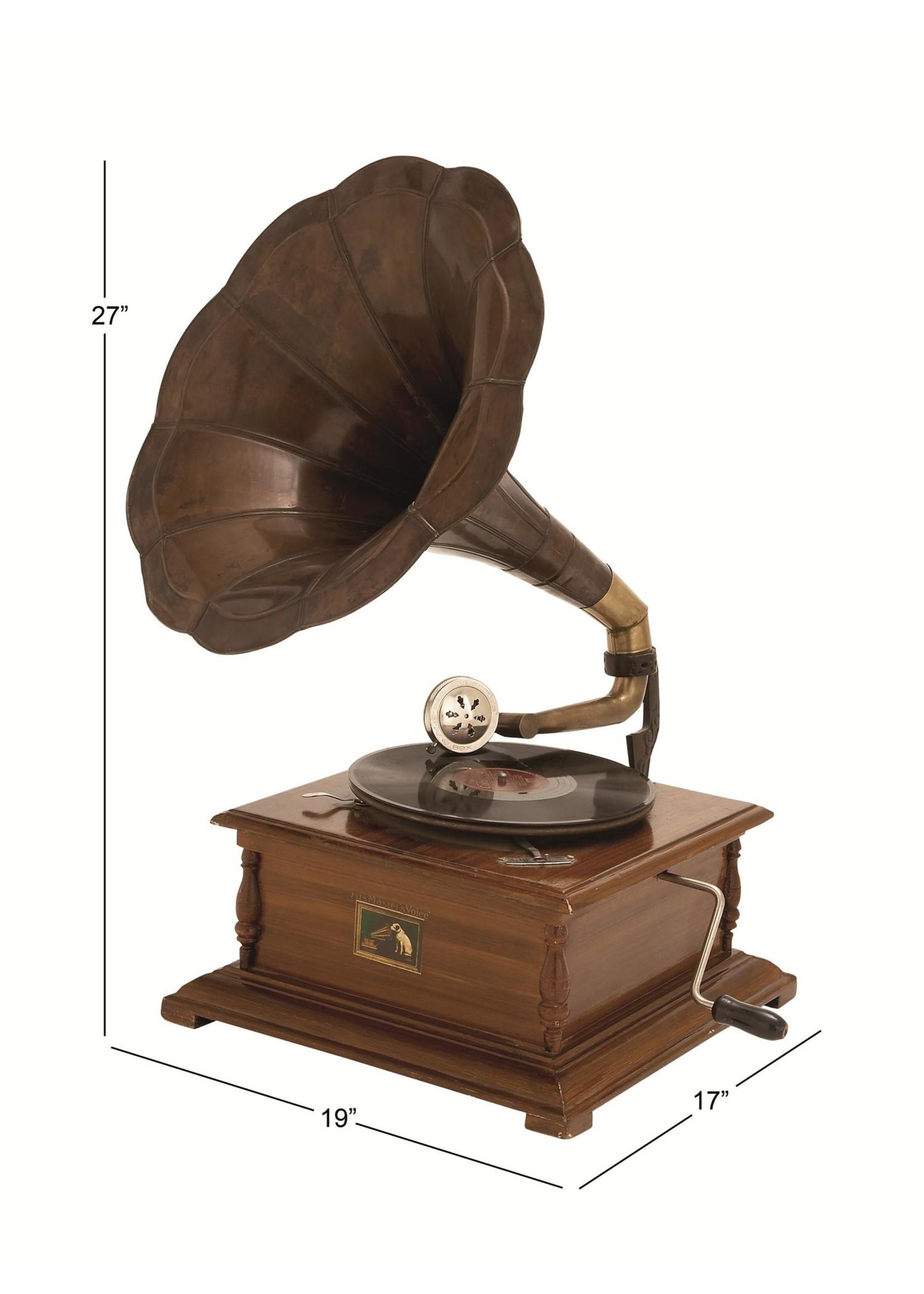 """UMA Enterprises Wood Metal Gramophone 27"""""""