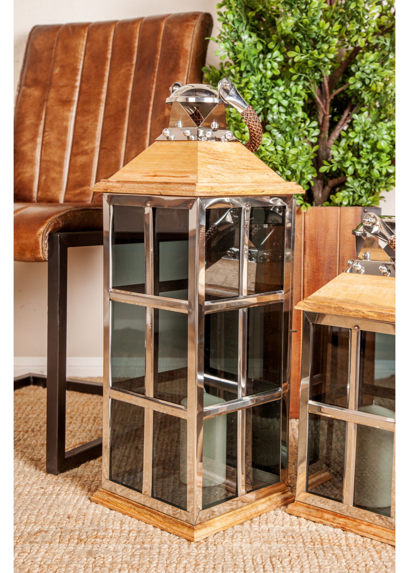 "UMA Enterprises UMA Wood Glass Lantern 26""H 9""W"